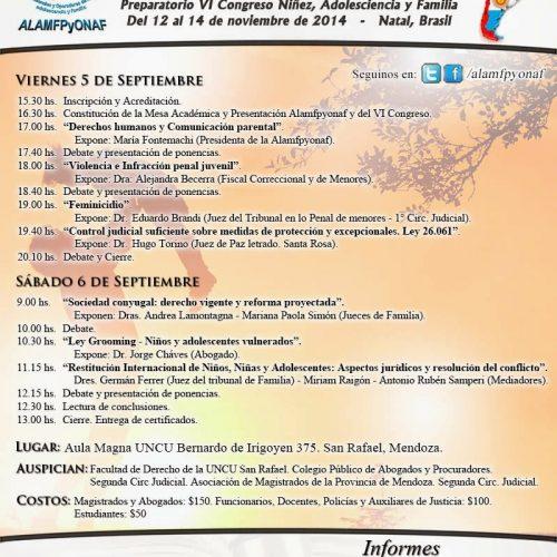 VI Pre Congreso de Niñez, Adolescencia y Familia – San Rafael, Mendoza