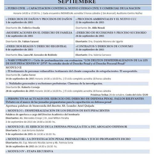 ACTIVIDADES PROGRAMADAS DEL CENTRO NUÑEZ (CÓRDOBA) – SEPTIEMBRE