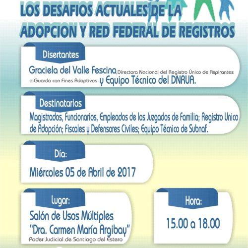 Santiago del Estero: Jornada sobre Los Desafíos Actuales de la Adopción y Red Federal de Registros