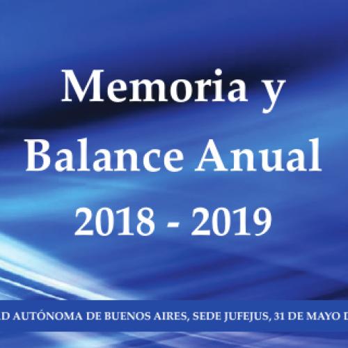 MEMORIA Y BALANCE ANUAL – JUFEJUS (2018 – 2019)