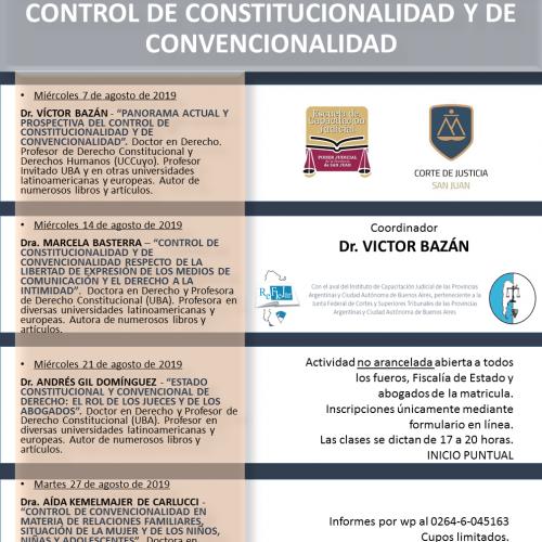 San Juan – Seminario sobre Control de Constitucionalidad y de Convencionalidad. Conferencia de cierre a cargo de la Dra. Aida Kemelmajer