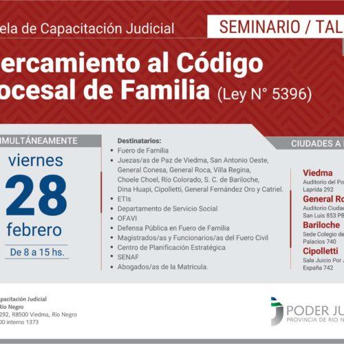 Capacitación en Río Negro sobre el nuevo Código Procesal de Familia de la Provincia
