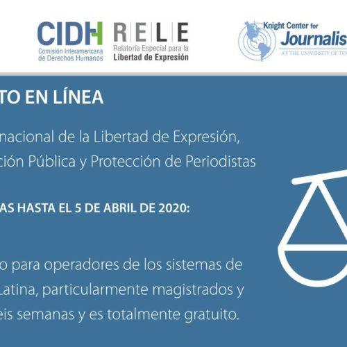 Curso el línea: marco jurídico Internacional de Libertad de expresión, Acceso a Información Pública y Protección de Periodistas