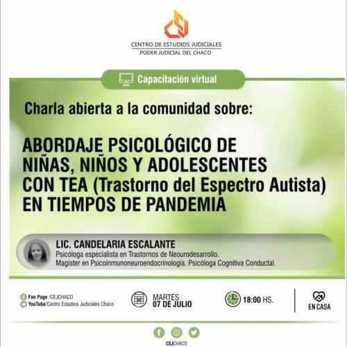 """Charla abierta a la comunidad sobre """"Abordaje psicológico de niñas, niños y adolescentes con TEA (Trastorno del Espectro Autista) en tiempos de pandemia"""""""