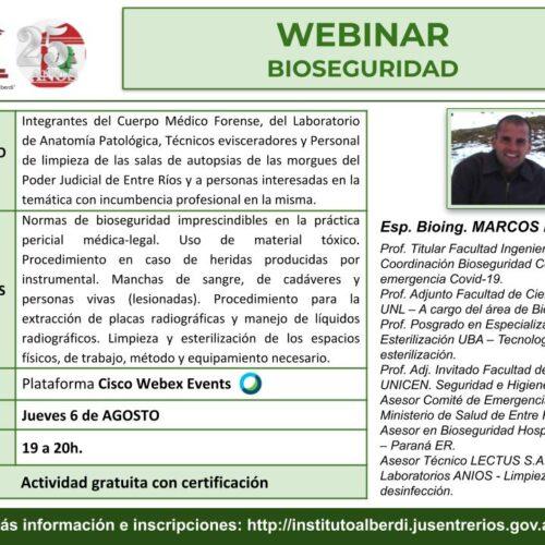 """WEBINAR """"Bioseguridad"""" – Instituto """"Dr. Juan Bautista Alberdi"""" (Entre Ríos)"""