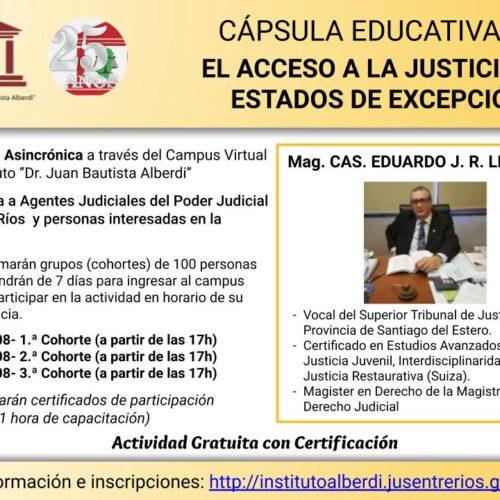 """CÁPSULA EDUCATIVA 03: EL ACCESO A LA JUSTICIA EN ESTADOS DE EXCEPCIÓN – Instituto """"Dr. Juan Bautista Alberdi"""" (Entre Ríos)"""