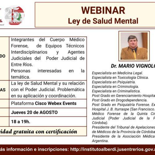 """WEBINAR """"LEY DE SALUD MENTAL"""" – Instituto """"Dr. Juan Bautista Alberdi"""" (Entre Ríos)"""