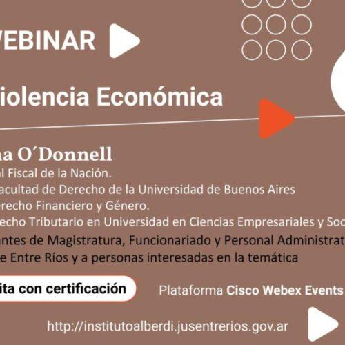 """WEBINAR """"VIOLENCIA ECONÓMICA"""" – Instituto """"Dr. Juan Bautista Alberdi"""" (Entre Ríos)"""