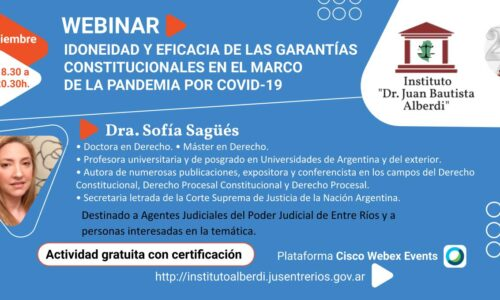 """WEBINAR """"IDONEIDAD Y EFICACIA DE LAS GARANTÍAS CONSTITUCIONALES EN EL MARCO DE LA PANDEMIA POR COVID-19"""" – Instituto """"Dr. Juan Bautista Alberdi"""" (Entre Ríos)"""
