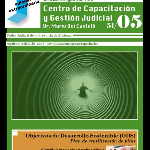 Disponible Boletín N°51/05 correspondientes a las actividades del mes de agosto 2020 del Centro de Capacitación y Gestión Judicial de Misiones