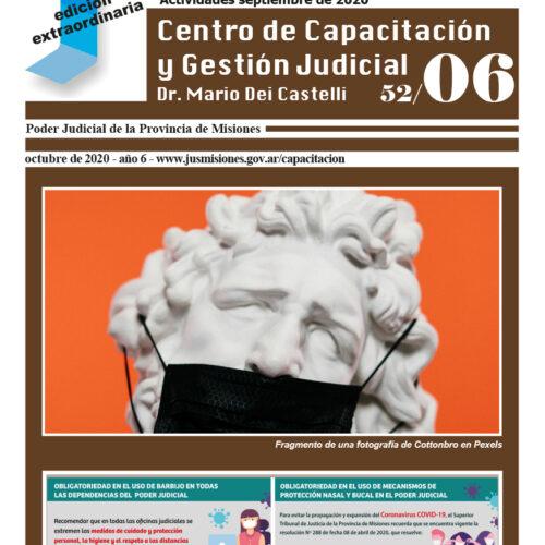 Disponible Boletín N°52/06 correspondientes a las actividades del mes de septiembre 2020 del Centro de Capacitación y Gestión Judicial de Misiones