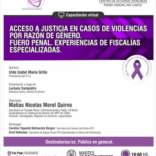 "Capacitación Virtual ""Acceso a Justicia en casos de Violencias por razón de género. Fuero Penal. Experiencias de Fiscalías especializadas"""