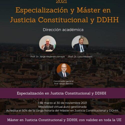 Difusión: Especialización y Máster en Justicia Constitucional y DDHH