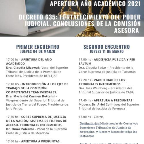 """Jornada de Apertura año académico 2021 REFLEJAR: """"Decreto 635: Fortalecimiento del Poder Judicial. Conclusiones de la Comisión Asesora""""."""