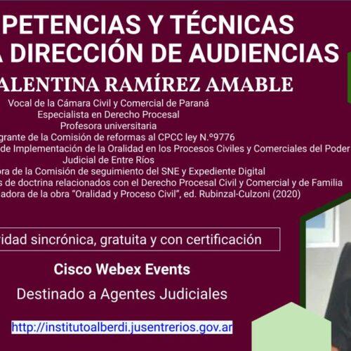 """WEBINAR COMPETENCIAS Y TÉCNICAS PARA LA DIRECCIÓN DE AUDIENCIAS (Instituto """"DR. Juan Bautista Alberdi"""" – Entre Ríos)"""