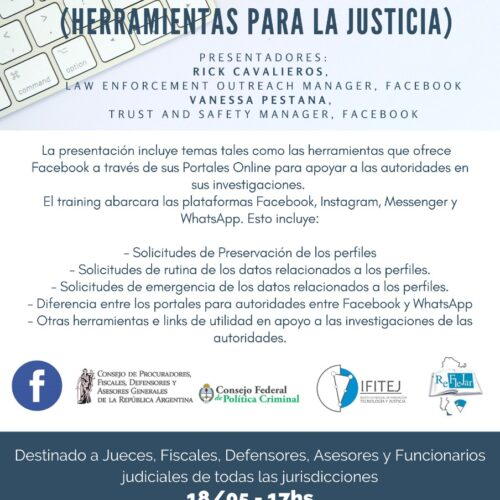 """Capacitación: """"LAW ENFORCEMENT OUTREACH DE FACEBOOK PARA AMÉRICA LATINA (Herramientas para la Justicia)"""""""