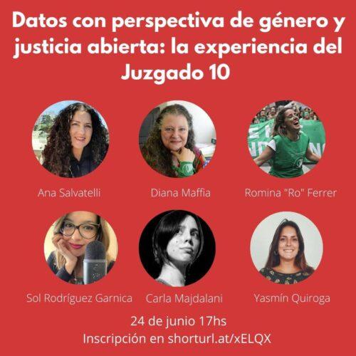 """Difusión: Presentación """"DATOS CON PERSPECTIVA DE GÉNERO Y JUSTICIA ABIERTA: LA EXPERIENCIA DEL JUZGADO 10"""""""