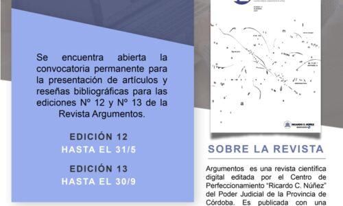 Convocatoria Revista Argumentos – Centro de Perfeccionamiento Ricardo C. Núñez del Poder Judicial de Córdoba