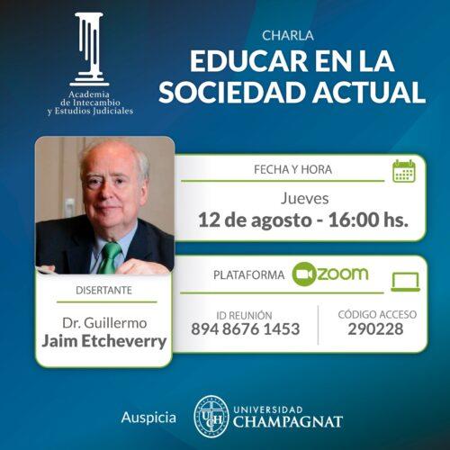 """Difusión: Charla """"Educar en la Sociedad Actual"""""""