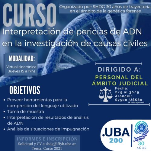 Difusión: Curso Interpretación de pericias de ADN en la investigación de causas civiles