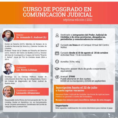 Curso de Posgrado en Comunicación Judicial – 7ma edición – 2021