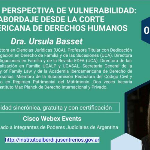 """WEBINAR FALLAR CON PERSPECTIVA DE VULNERABILIDAD: UN ABORDAJE DESDE LA CORTE INTERAMERICANA DE DERECHOS HUMANOS (Instituto """"Dr. Juan Bautista Alberdi"""" – Entre Ríos)"""