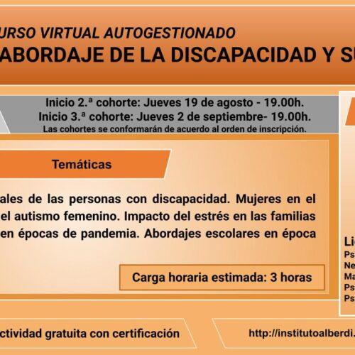 """CURSO VIRTUAL AUTOGESTIONADO ABORDAJE DE LA DISCAPACIDAD Y SUS DERECHOS (Instituto """"Dr. Juan Bautista Alberdi"""" – Entre Ríos)"""