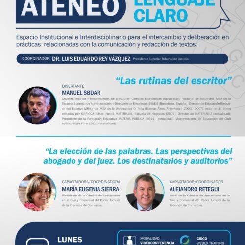 Difusión: Ateneo Lenguaje Claro – Escuela Judicial de Corrientes
