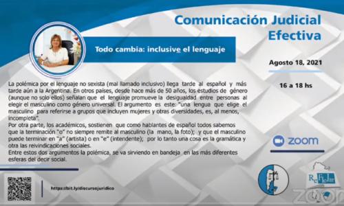 """Comunicacion judicial efectiva: """"Todo Cambia: inclusive el lenguaje"""""""