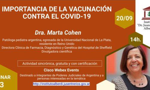 """WEBINAR IMPORTANCIA DE LA VACUNACIÓN CONTRA EL COVID-19 (Instituto """"Dr. Juan Bautista Alberdi"""" – Entre Ríos)"""