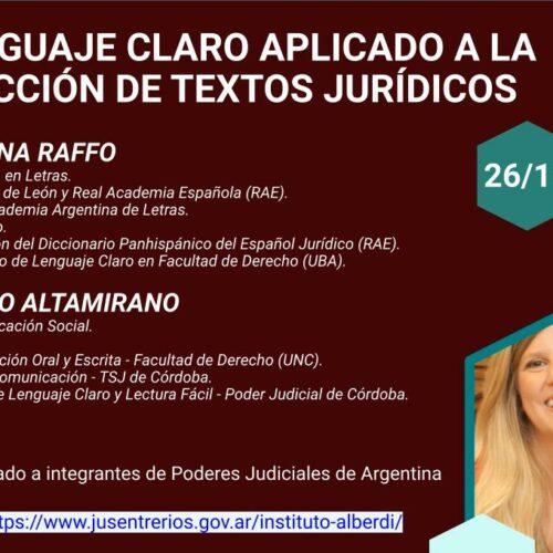 """WEBINAR EL LENGUAJE CLARO APLICADO A LA REDACCIÓN DE TEXTOS JURÍDICOS (Instituto """"Dr. Juan Bautista Alberdi"""" – Entre Ríos)"""