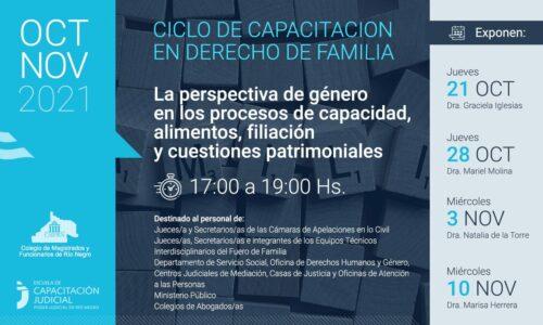 Ciclo de Capacitación en Derecho de Familia – La perspectiva de género en los procesos de capacidad, alimentos, filiación y cuestiones patrimoniales